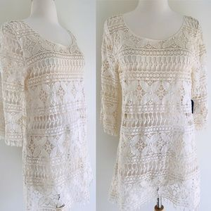 FOREVER 22 Ivory crochet lace tunic top size S